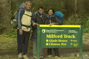 Murali, Balakrishna and Juliana hiking in New Zealand