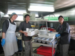 Ethan volunteering in the galley of the Logos Hope.